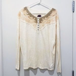 Free People | Long Sleeve Cream Embroidered Tee S